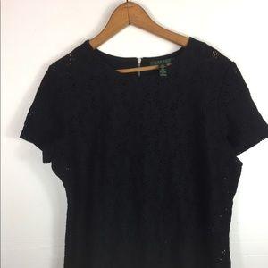 Lauren Ralph Lauren Black Lace Short Sleeve Top